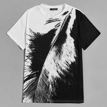 Men Two Tone Feather Print Top