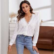 Lace Trim Buttoned Front Open Knit Cardigan