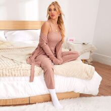 3pcs Self Tie Cami Top & Robe & Pants Lounge Set