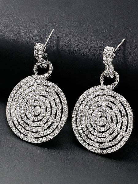 Milanoo Silver Bridal Earrings Round Rhinestone Pierced Wedding Jewelry