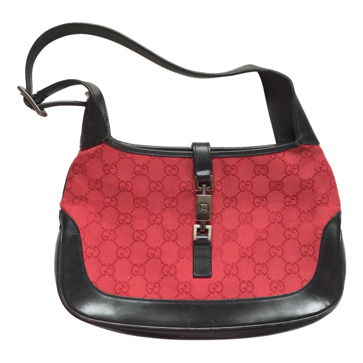 Gucci Jackie Vintage  Handtasche in  Rot Leinen