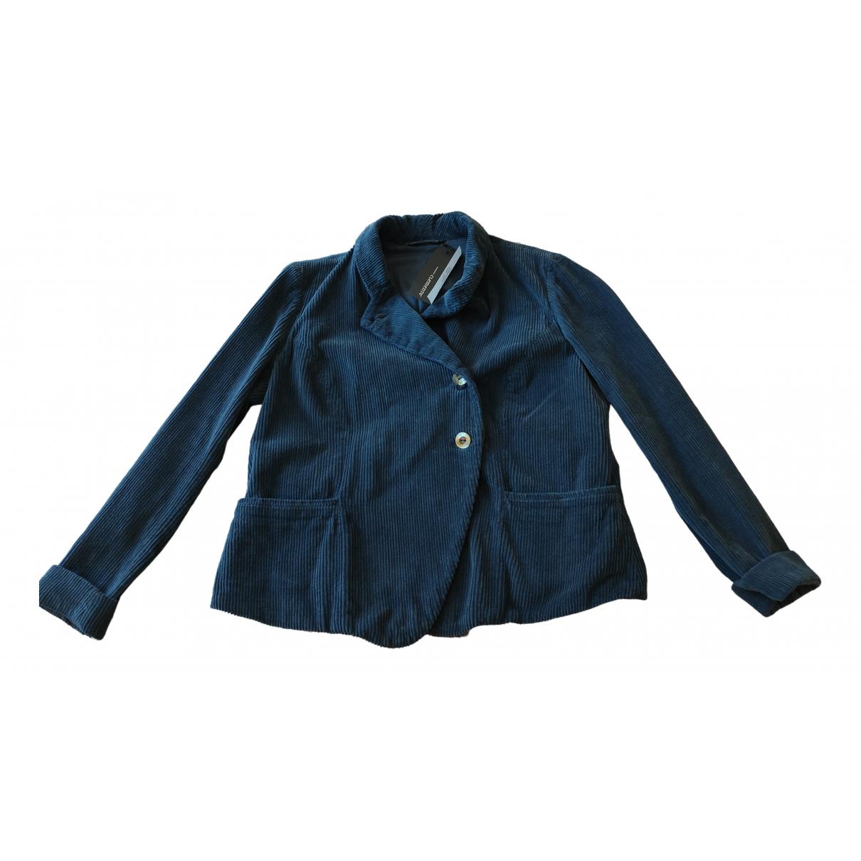 Non Signé / Unsigned N Blue Velvet jacket for Women 40 FR