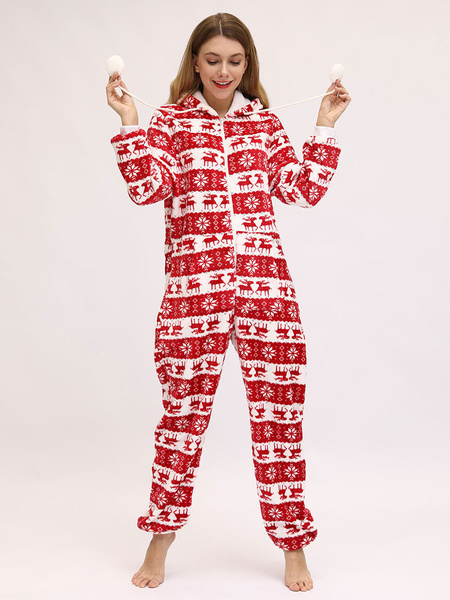 Milanoo Pajamas Kigurumi Onesie Christmas Pattern Flannel for Adult Winter Sleepwear Animal Costume Halloween