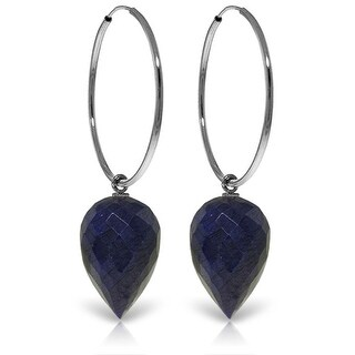 14K Solid Gold Hoop Earrings w/ Pointy Briolette Drop Dyed Sapphires (White)