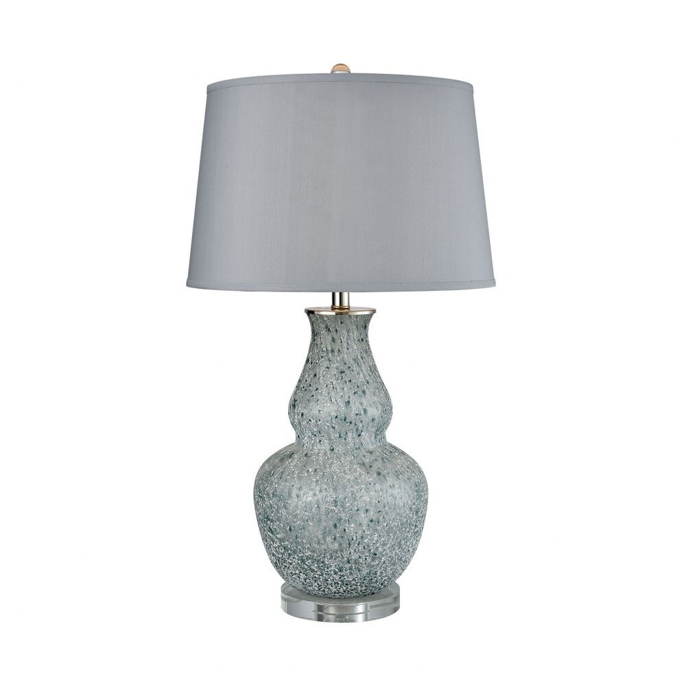 Blue Grey Frost  Gourd Table Lamp Made Of Crystal And Glass With A Grey Faux Silk Fabric Shade With - Blue Grey Frost (Blue Grey Frost)