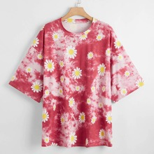 Plus Tie Dye Daisy Floral Print Tee