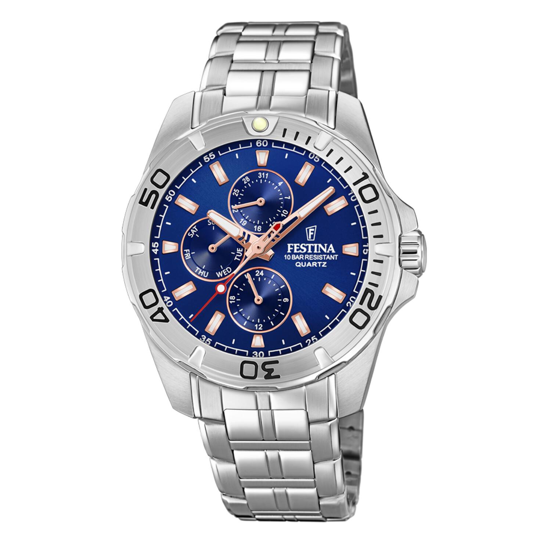 Festina Men's Multifunction F20445-5F37 Blue Stainless-Steel Quartz Dress Watch