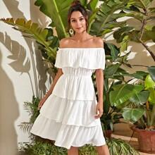 Vestidos Volante Liso Blanco Bohemio
