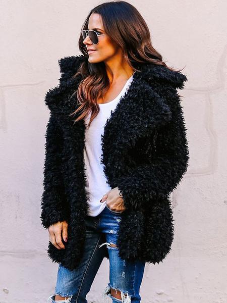Milanoo Abrigo de piel sintetica Escudo de peluche de mujer Teddy Fuzzy Coat Abrigo de invierno de manga larga
