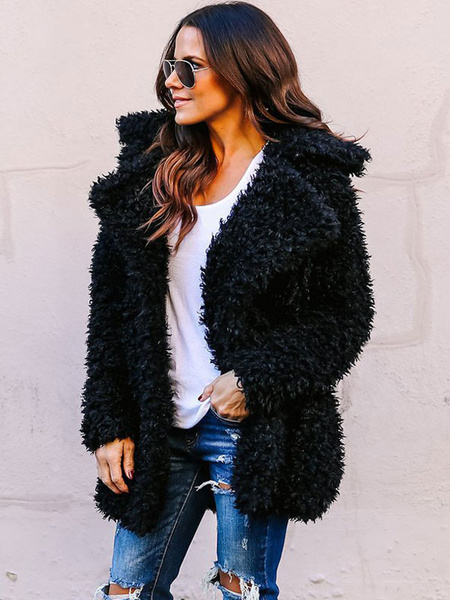 Milanoo Faux Fur Coat Women Teddy Fuzzy Coat Long Sleeve Turndown Collar Winter Coat