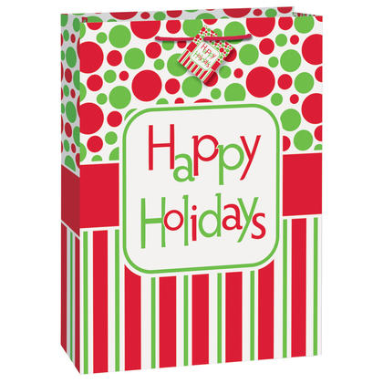 Sac cadeau jumbo Happy Holidays, 18 x 13 x 4 po, 1 ct