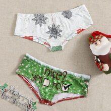 2pack Christmas Print Pants Set