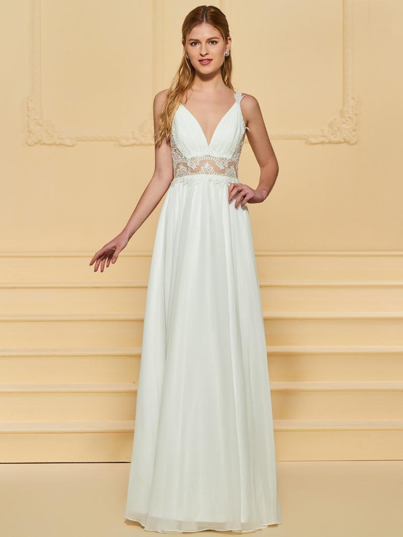 Ericdress Straps Lace Appliques Beach Wedding Dress