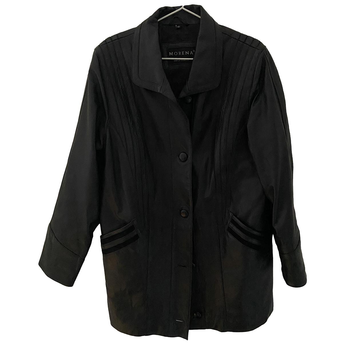 - Veste Oversize pour femme en cuir - noir