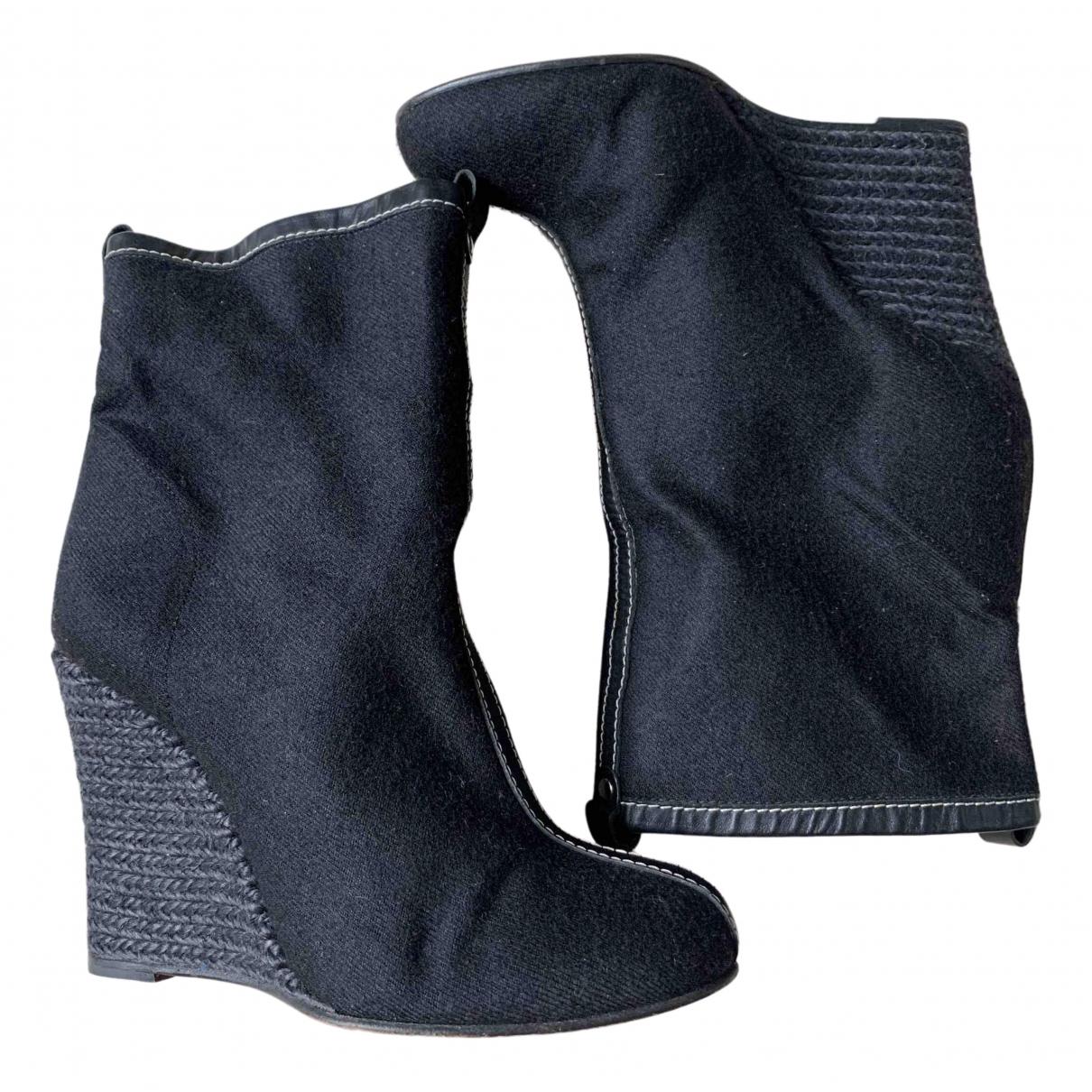 Christian Louboutin \N Black Cloth Ankle boots for Women 36 EU