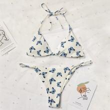 Dreieckiger Bikini Badeanzug mit Schmetterling Muster