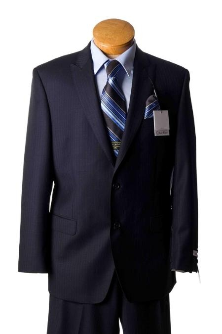 2 Button Navy Pinstripe Slim Fit Suit Mens