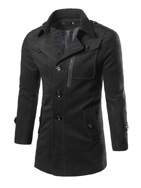 Milanoo Black Pea Coat Men Turndown Collar Long Sleeve Button Casual Overcoat