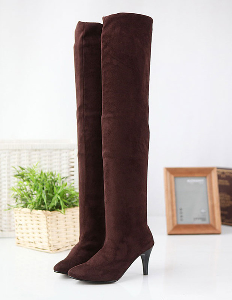 Milanoo Over The Knee Boots Womens Terry Almond Toe Middle Heel Stiletto Heel Boots