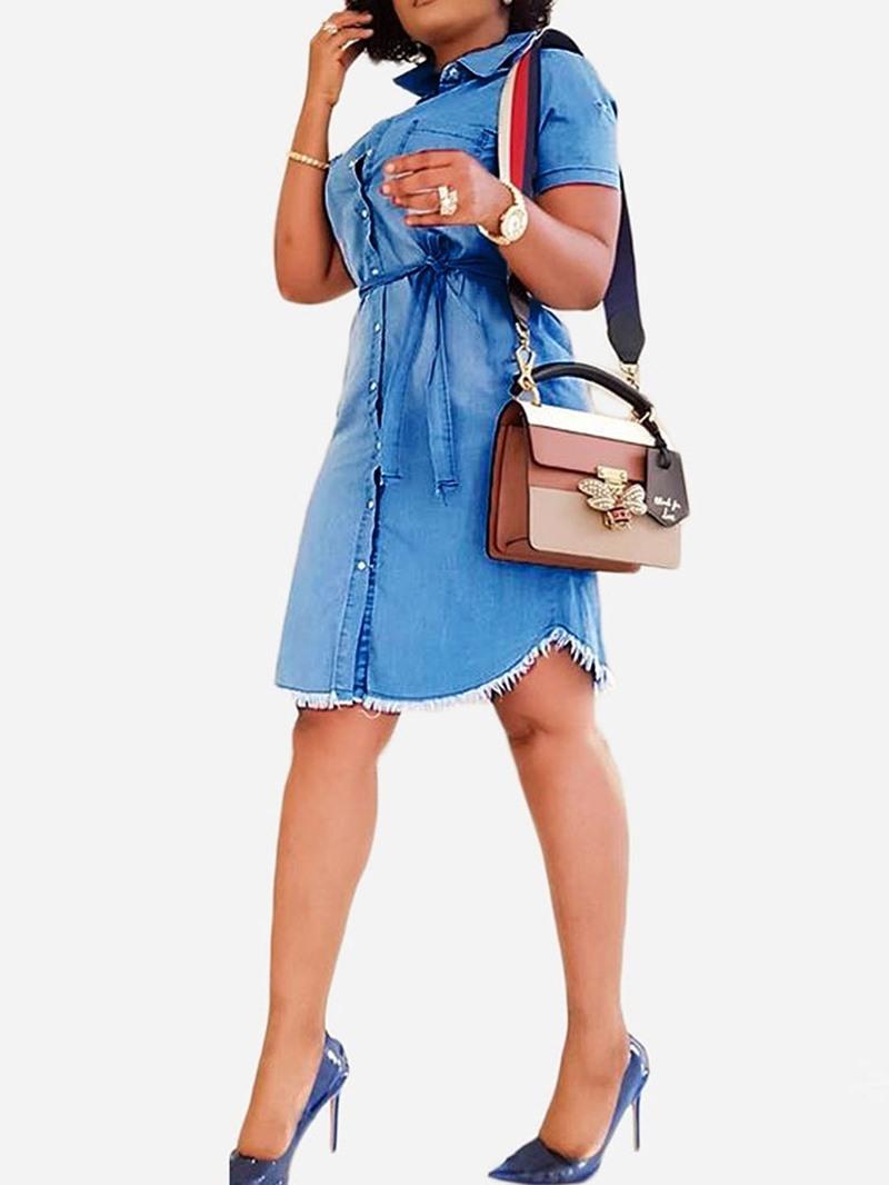 Ericdress Knee-Length Short Sleeve Asymmetric Mid Waist Denim Dress