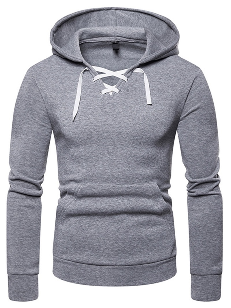 Ericdress Plain Lace Up Hooded Mens Casual Hoodies