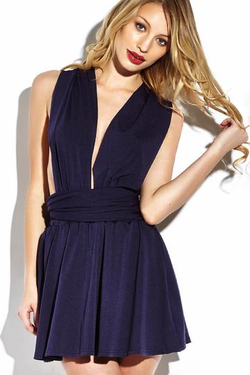 Yoins V-neck Multiway Self-tie Mini Dress