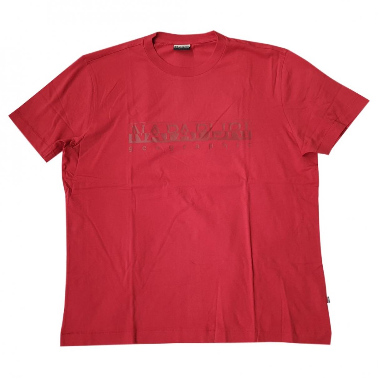Napapijri - Tee shirts   pour homme en coton - rouge