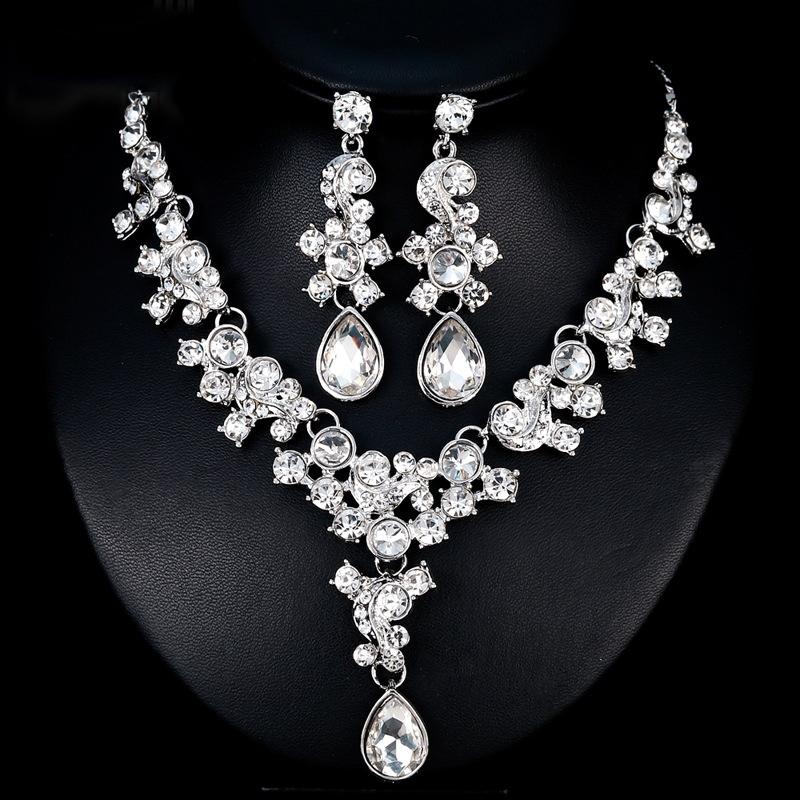 Gemmed Necklace Earrings European Jewelry Sets (Wedding)