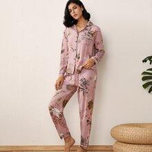 Schlafanzug Set mit Pflanzen Muster und Kontrast Bindung