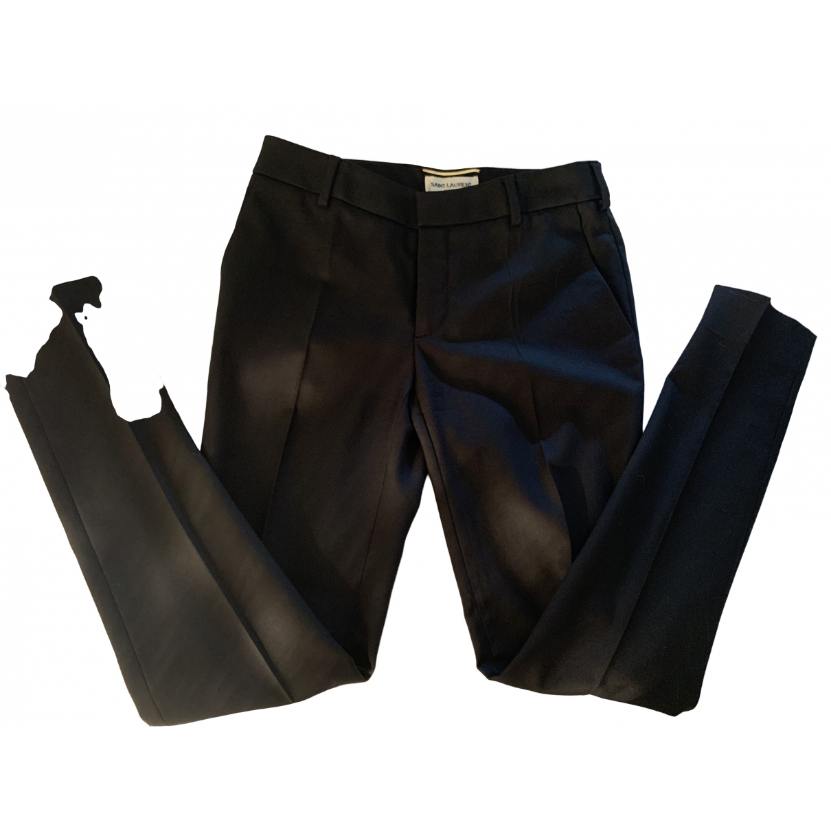 Saint Laurent \N Black Wool Trousers for Women 34 FR