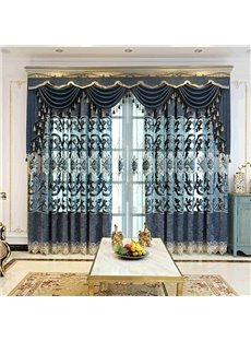 Lake Blue Elegant Embroidered Floral Decorative 2 Panels Custom Grommet Curtains For Living Room