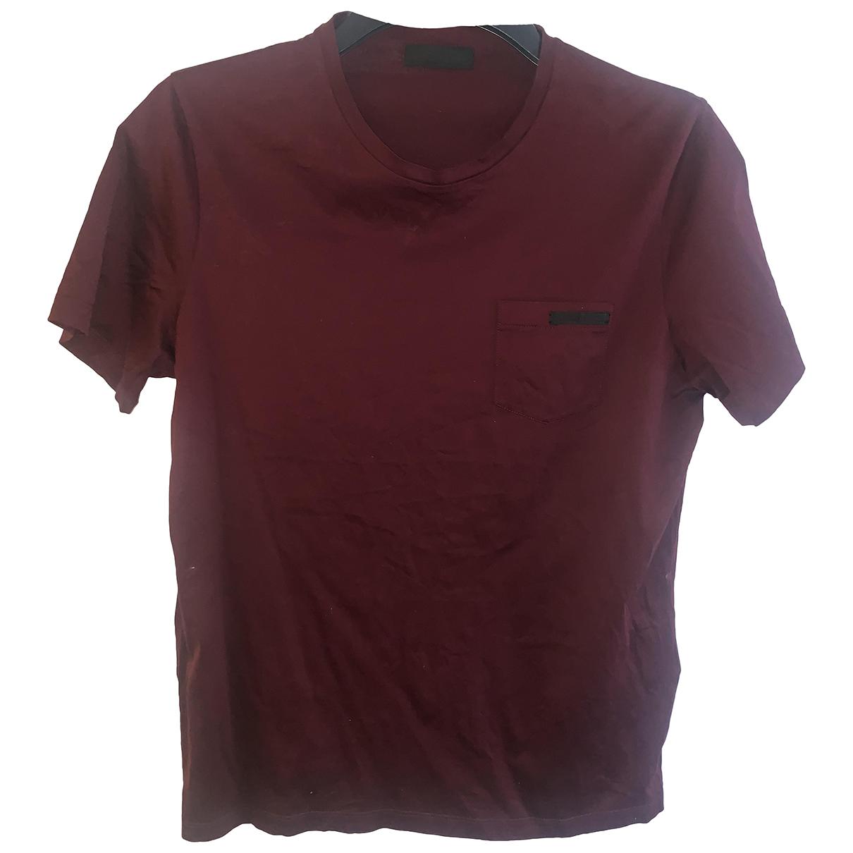 Prada - Tee shirts   pour homme en coton - bordeaux