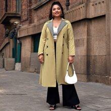 Zweireihiger Mantel mit Kontrast Karo Muster