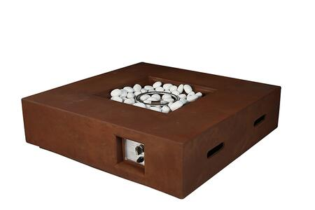 LB107042SK00000 Brenta Outdoor Square Rustic Brown Gas Fire Pit Table with Round Burner