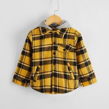 Toddler Boys Plaid Contrast Hooded Coat
