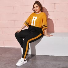 Plus Two Tone Letter Graphic Top & Contrast Sideseam Leggings Set