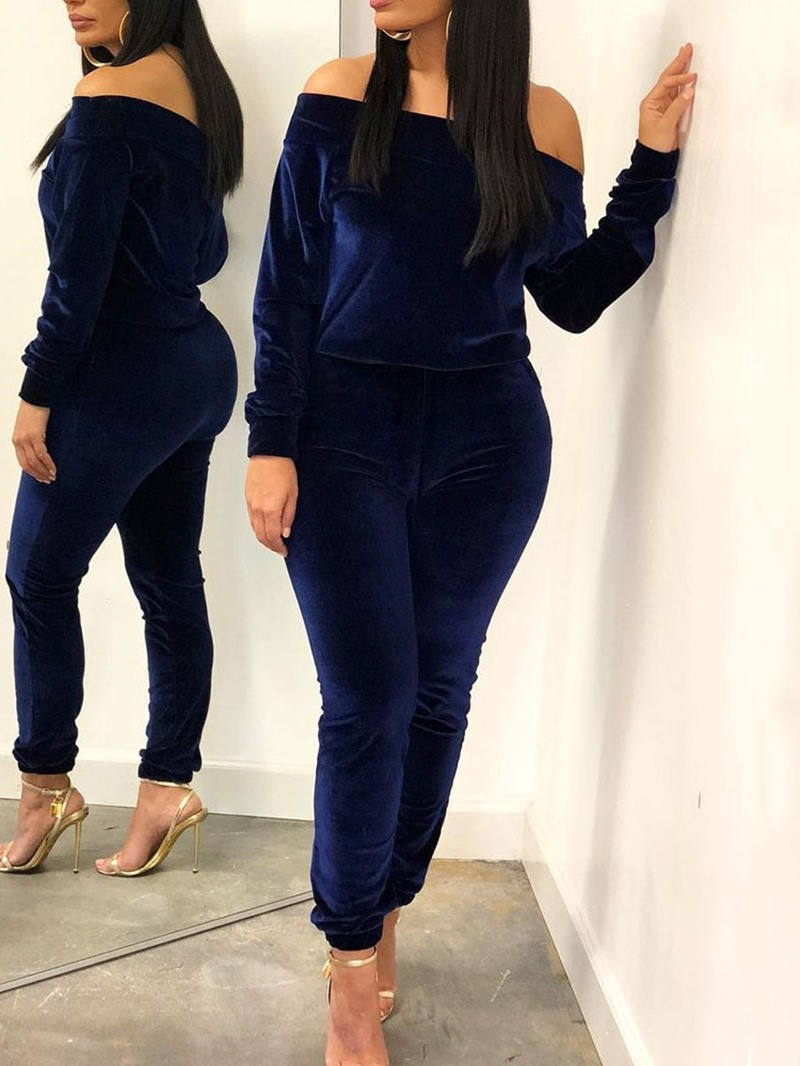 Ericdress Plain Casual Pullover Off Shoulder Two Piece Sets