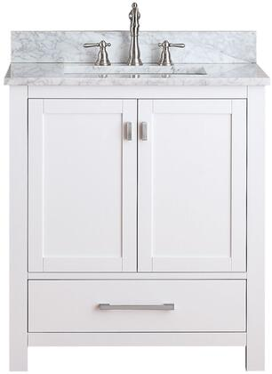 MODERO-VS30-WT-C  Modero Collection 30 Vanity Combo with Brushed Nickel Finished Hardware  Drilled Faucet Holes  Soft Close Doors  Soft Close