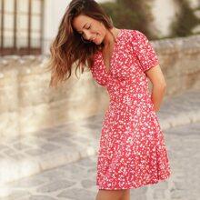 A-Linie Kleid mit Gaensebluemchen Muster