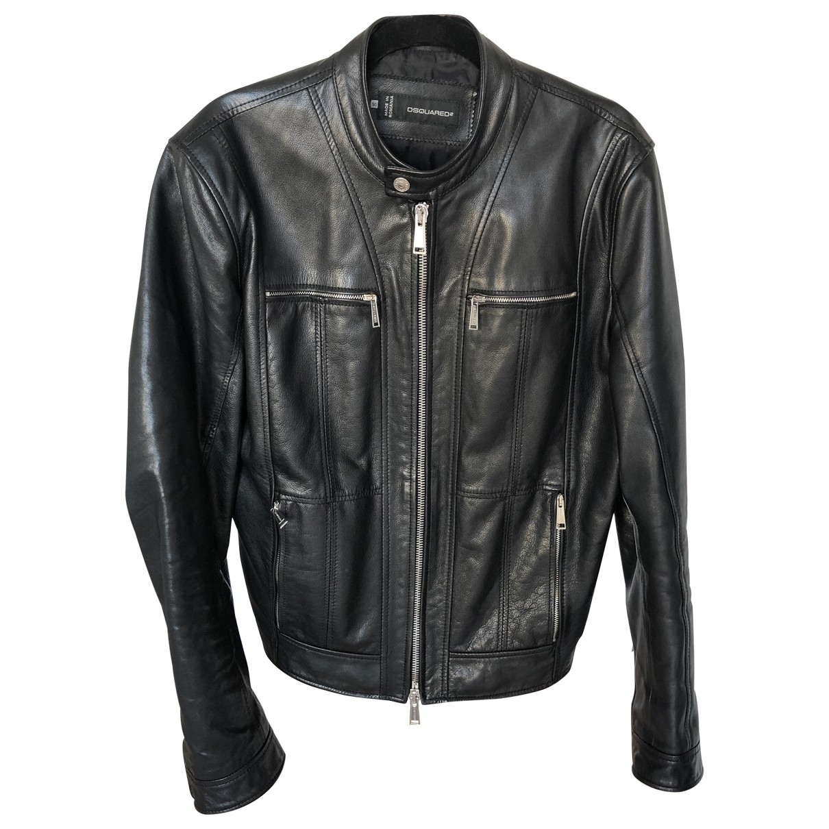 Dsquared2 \N Black Leather jacket  for Men 50 IT
