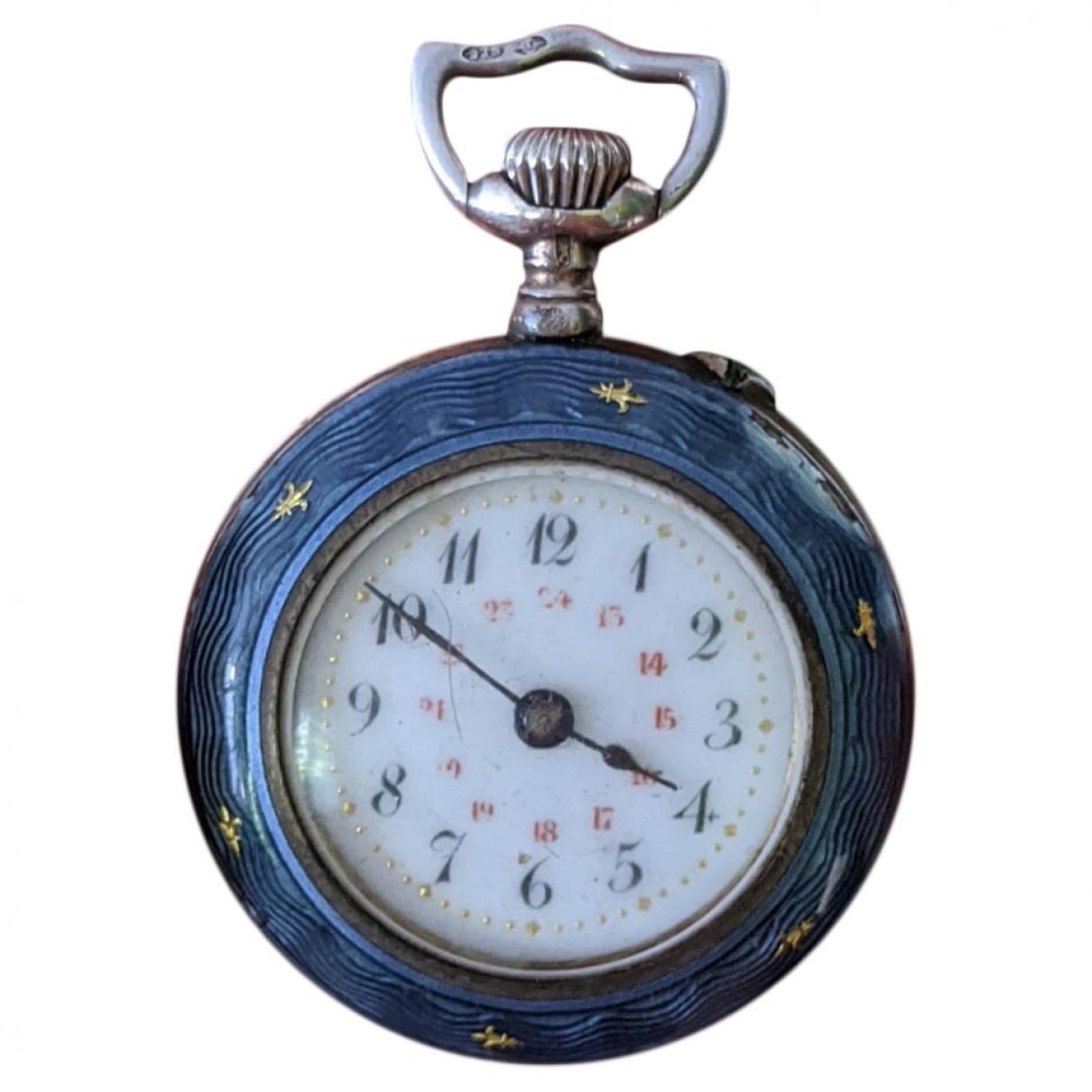 Non Signe / Unsigned \N Uhr in  Blau Silber