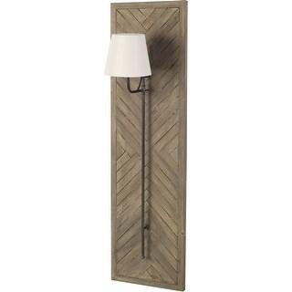 Mercana Vector 12.5x53 Brown Wooden Body Copper Metal Rectangular Wall Sconce -  12.5L x 15.0W x 53.0H (12.5L x 15.0W x 53.0H)