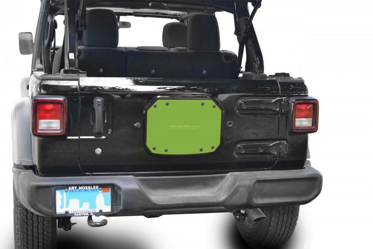 Steinjager J0048225 Spare Tire Carrier Delete Plate Wrangler JL 2018 to Present Gecko Green