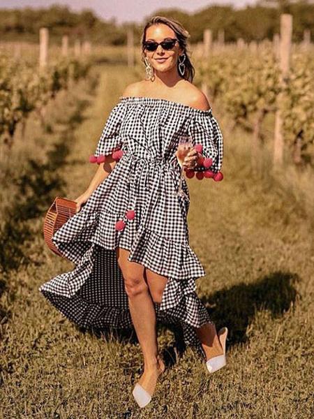 Milanoo Black Summer Dresses Half Sleeve Off The Shoulder Pom Poms Plaid High Low Long Dress