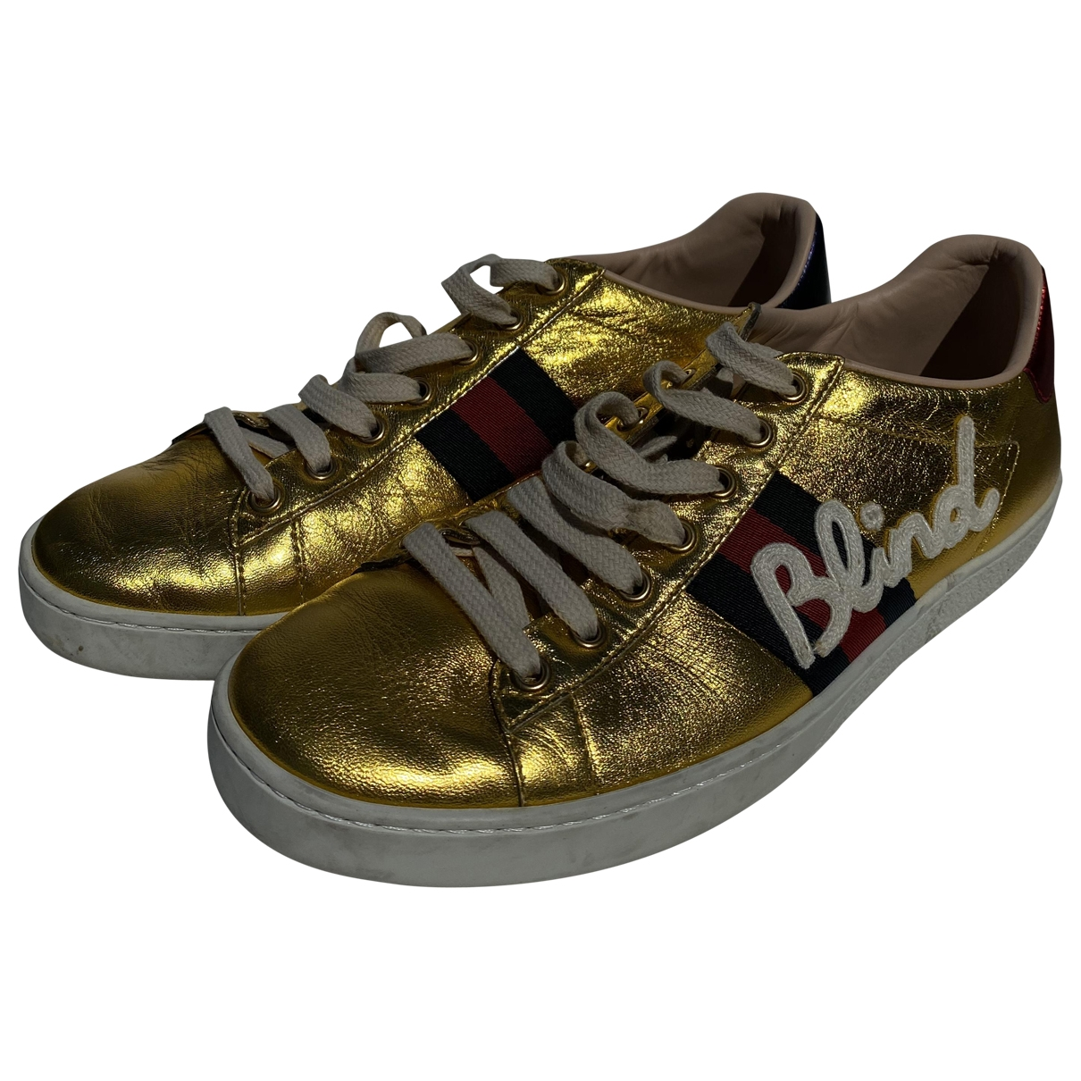 Gucci Ace Gold Leather Trainers for Women 38.5 EU