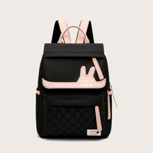 Girls Letter Graphic Pocket Front Backpack