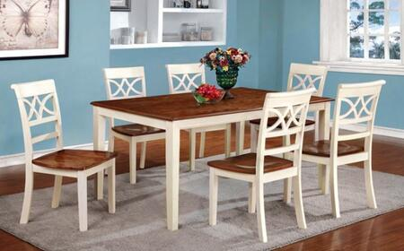Torrington Collection CM3552WCT6SC 7-Piece Dining Room Set with Rectangular Table and 6 Side Chairs in Vintage