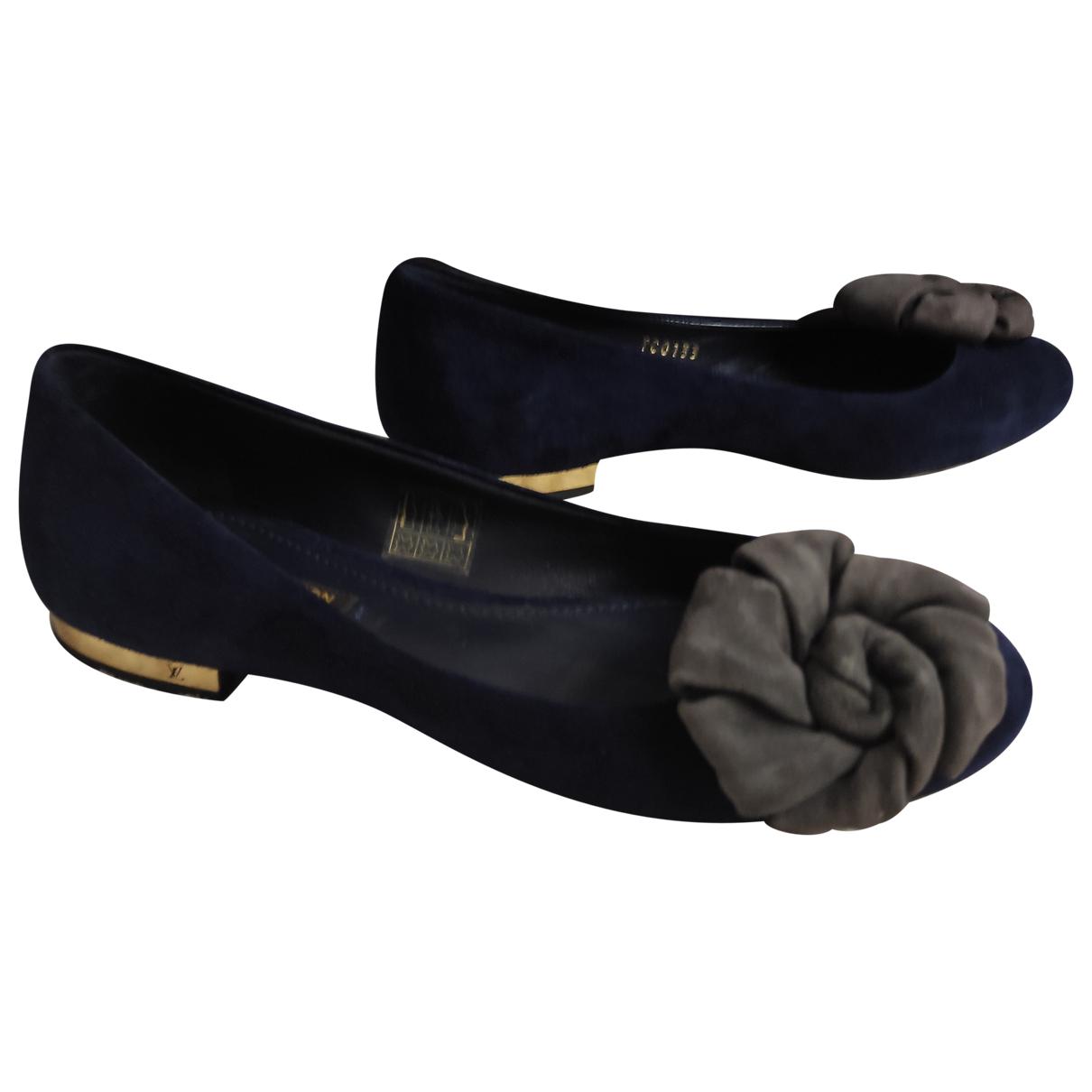 Louis Vuitton N Navy Suede Ballet flats for Women 35.5 EU