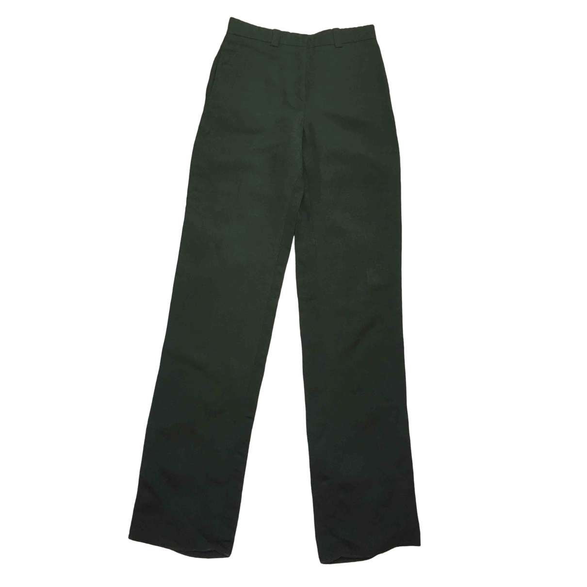 Emilio Pucci \N Green Linen Trousers for Women 38 IT