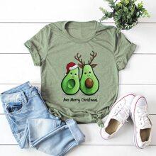T-Shirt mit Weihnachten Avocado & Buchstaben Grafik